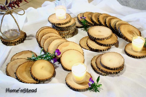 Rustic Wedding Coasters Table Decoration Ash Wood Mason Jar Stands Party  Favors