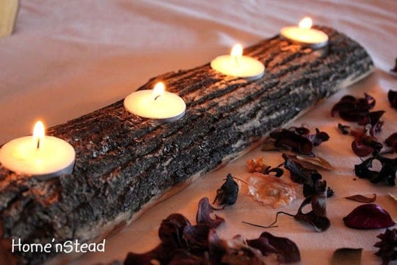 Log Candle Holder - Rustic Wedding Woodsy Table Decor