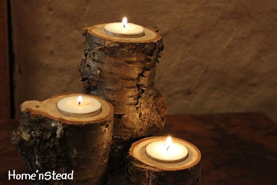 Log candles yellow birch rustic wedding cabin decor table for Log candle holder how to make