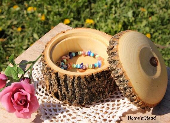 Rustic Log Jewelry Box Custom Personalization Necklace Ring Box