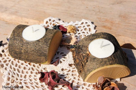 Pair of Rustic Wedding Candle Tea-Lite Holder, Table Centerpiece Pair Unity