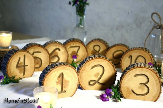 RESERVED 1-20 rustic wedding table numbers