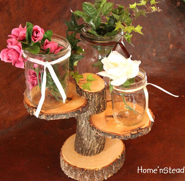 Mason Jar Wedding Decorating Ideas: 3-Tiered Rustic Wedding Decor Tree Mason Jar / Candle Stand