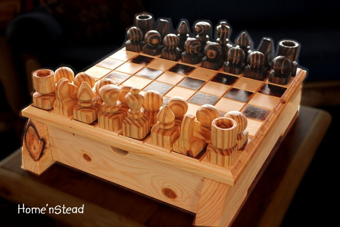 Handmade Chess Set With Heavy Board And Built In Drawers