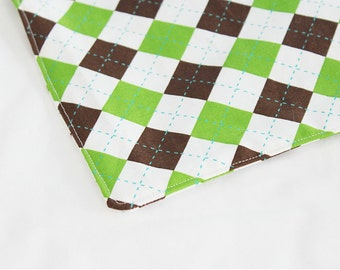Green and Brown Argyle Waterproof Changing Pad - small