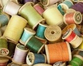 CLEARANCE, SALE, vintage thread spools,sewing threads,craft room decor,sewing room,sewing notions,vintage spool thread photograph
