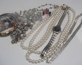 Destash Lot of Vintage Jewelry Some Beads 1 Watch ReUse in Your Art