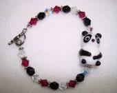 Panda Bear Ruby Red Swarovski Crystals Girl's Bracelet