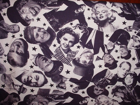 Old Time Movie Star Novelty Design Quilt Weight Cotton Fabric