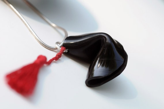 Upcycled Vinyl Fortune Cookie Pendant