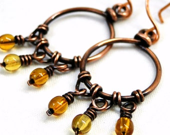 Handcrafted Earrings, Antiqued Copper, Wire Wrapped Jewelry, Yellow Glass, Fringe Earrings