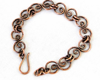 Handcrafted Jewelry, Hammered Copper Bracelet, Antiqued Copper, Scroll Link Bracelet