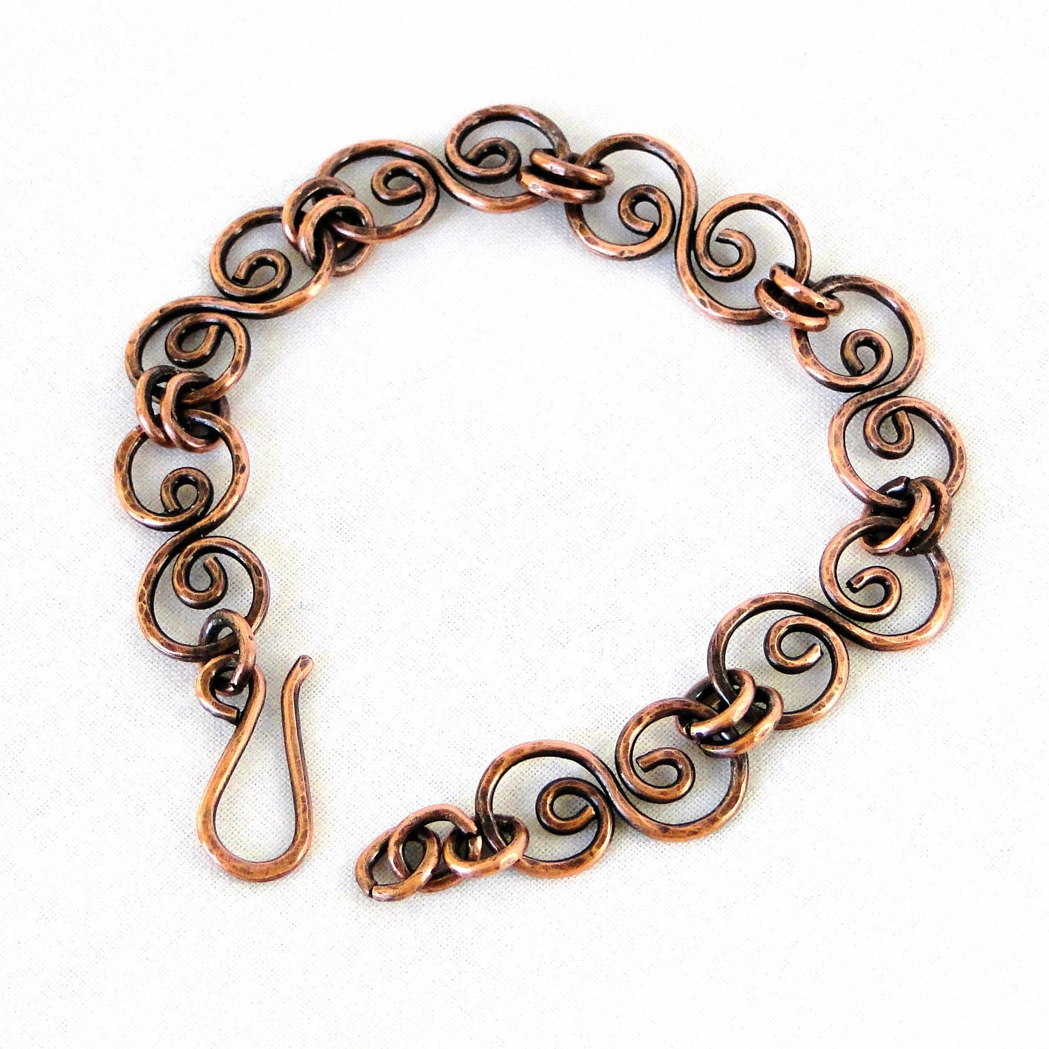 Metal Wire For Jewelry : Handcrafted jewelry hammered copper bracelet antiqued
