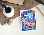 Contemporary home decor fine art print modern surreal illustration drawing modern imaginative fantasy pink blue cat unisex nursery decor kid