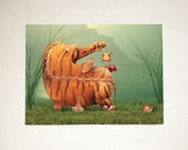 Successful Hunting - fine art print surreal illustration computer graphics tiger animal stripe fantasy orange green nature garden woodland