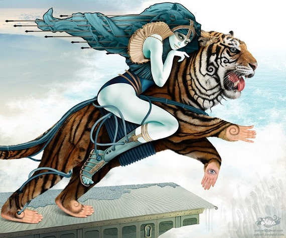 Adventure - romantic art print computer graphics The Amazon all-female warrior fantasy wild tiger princess teal blue mint brown gift for him