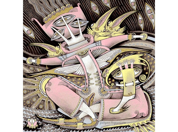 Extravagant art modern drawing contemporary print surreal illustration fantasy painting nursery decor home picture wall hanging pink brown