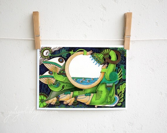 Watering - fine art print unisex gift surreal illustration drawing fantasy home decor water dragon botanical green blue mint aqua