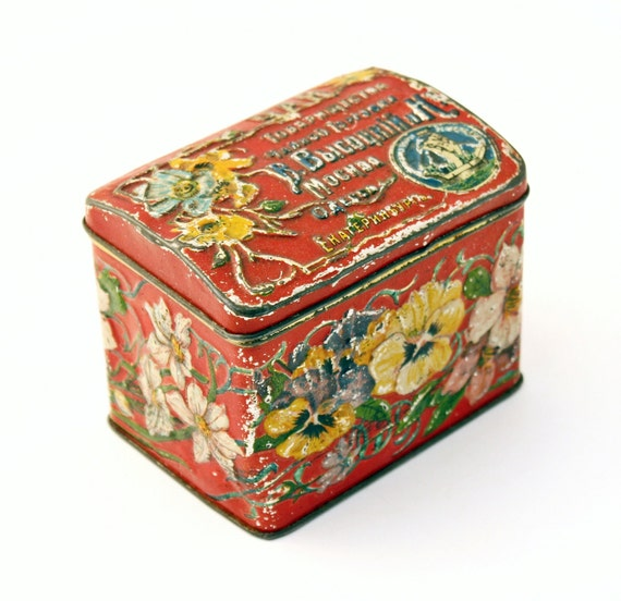 Antique TIN BOX Tea box pre 1900 imperial Russian with flowers