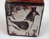 Little Queen Hen Collograph Print on Wood