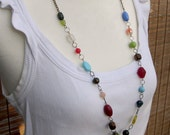 RESERVED for Pookah0305 Fiesta - long Glass Bead Necklace - lange Halskette mit Glasperlen - MEXICANA Collection