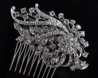 BRIDAL COMB,wedding comb,wedding hair comb , crystal hairpiece,bridal head piece with SWAROVSKI Crystals - Margaret