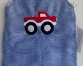 Red Monster Truck applique on blue gingham Jon Jon, Shortall, One Piece outfit