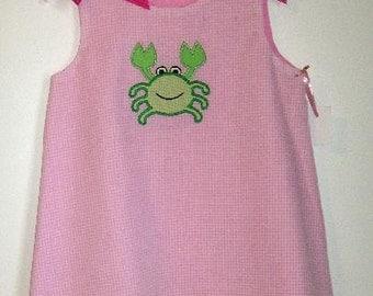 Crab applique Pink gingham Aline Dress  grosgrain bows sizes 1T 2T 3 4 5