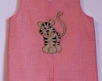 Tiger applique jon jon orange gingham sizes 9 months to 3T