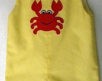 Crab applique Yellow gingham jon jon shortall  sizes 6 mo - 5