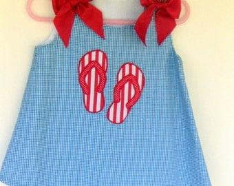 Flip Flop applique Light Blue gingham Aline Dress Grosgrain ribbon bows