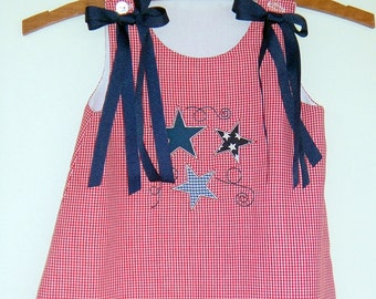 4th July Stars and Swirls Aline Dress Red Gingham Sizes 9 months 4T bows