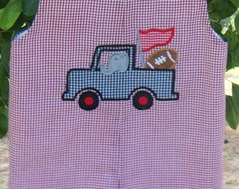Elephant Truck Alabama Football Jon  Jon Jumper Crimson Gingham size 9mo 1t, 2t, 3t