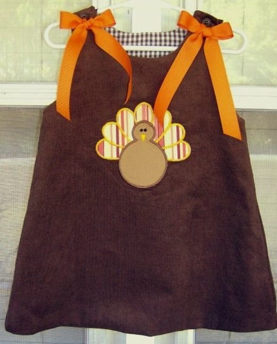 Turkey Applique Brown Corduroy Thanksgiving Dress size 1-4