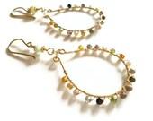Gold hoop earrings tourmaline wire wrapped handmade earrings