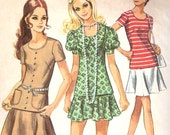 Vintage 1970s Simplicity Juniors Two Piece Dress Sewing Pattern