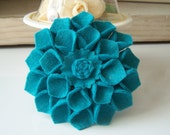 Wool Felt Summer Dahlia Flower Pin Brooch Turquoise (w/ Free Headband)
