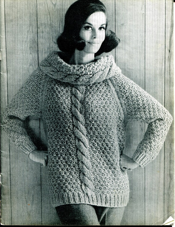 Items similar to 1967 Vintage Womens Cowl Chunky Cable Knit Sweater Knit...