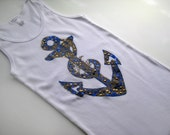 SEQUINS ANCHOR Wifebeater Womens Size Medium