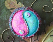 Pink and Green Yin Yang Upcycled Gourd Wall Art - shipping included