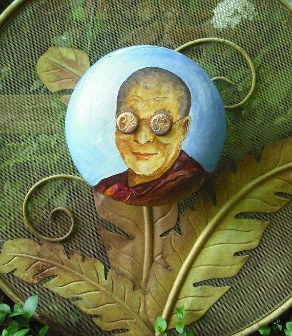 Dalai Lama with bottle caps lenses