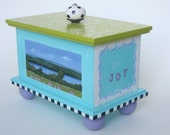 hand painted wooden box, trinket box, personalized