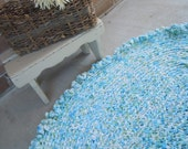 Rag Rug Shabby Chic Blue Rose Confetti Crochet Rag Rug