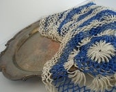 Vintage Doilies Royal Blue Cream Farmhouse Romantic Shabby Rustic Home Decor Collection of 8