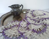 Vintage Doilies Romantic Farmhouse Purple White Textured Collection of 4