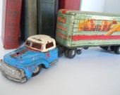 Vintage Truck and Trailer Rustic Farmhouse Chippy Shabby Chic Home Decor Metal Scrap Repurpose