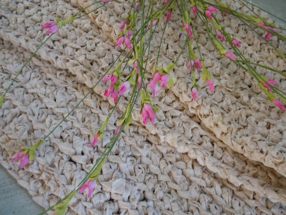 Rag Rug Shabby Cottage Sweet Cream Crocheted Textured