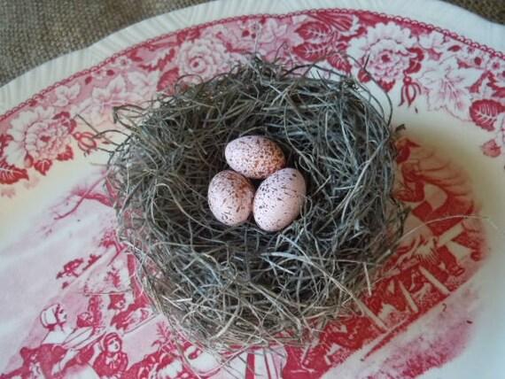 Bird Nest Shabby Chic Handmade Bird Nest with Pink Eggs