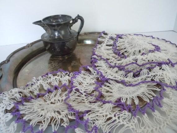 Vintage Doilies Romantic Farmhouse Purple White Textured Collection of 4