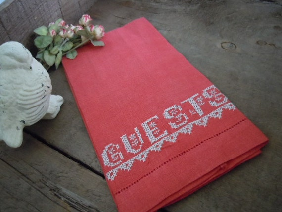 Vintage Linen Red Guest Towel Romantic Farmhouse Cottage Style